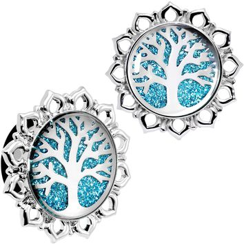 18mm Blue Glitter Inlay Tree of Life Single Flare Plug Set