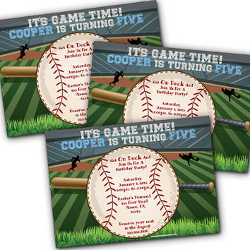 Baseball Birthday Invitation - Little Slugger Baseball Birthday Invites - Baseball 1st Birthday - Home Run - Grand Slam Sports Boy Birthday