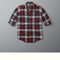 Plaid Herringbone Button-Up Shirt