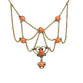 Coral Necklace. Victorian Natural Carved Salmon Pink Gemstone Cabochons. Gold Filled Gilt Festoon Bib. Heart Filigree. Antique 1800s Jewelry