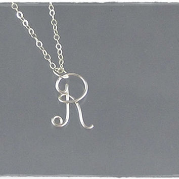 FREE SHIPPING!!!  Initial R Wire Word Pendant Necklace Cursive