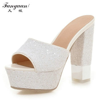 Drop Shipping Open Toe Thick High Heels Platform Sandal Shoes For Women Sexy Casual Elegant  Rhinstones Style Summer Dress Shoes