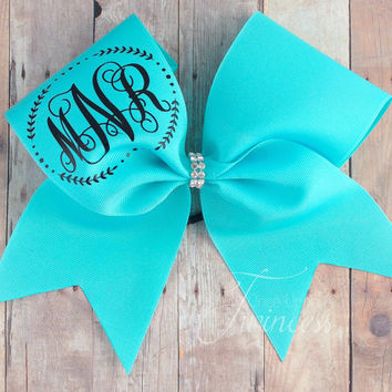 Monogram cheer bow - cheerleading gifts - aqua cheer bow - cheer team bows - Nationals - team orders - volleyball bows - softball bows