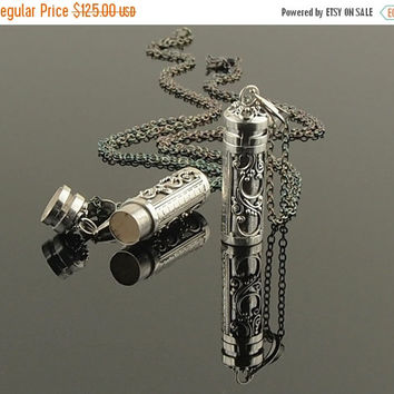 On Sale Prayer Box Keepsake Necklace Sterling Silver Urn Locket Necklace Ethnic Tribal Hill Tribe Silver Pill Box