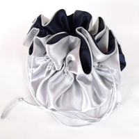 Money Dance Bag,  Satin Bridal Money Purse, Evening Bag, Bridal Tote Bag, Satin Wedding Purse,   Silver and Navy Blue No Pockets