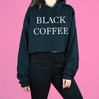 Black Coffee Cropped Hoodie