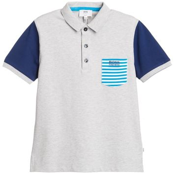 Hugo Boss Boys Grey and Blue Piqué Polo Shirt