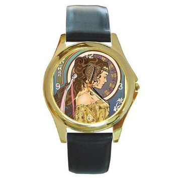 Vintage Art Nouveau Lady on a Womens Gold Tone Watch with Leather Band