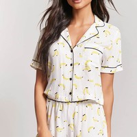 Banana Print Pajama Top & Shorts