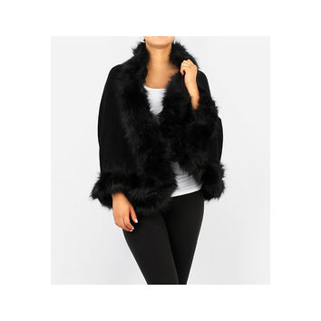 Black Faux Fur Shrug Shawl Scarf