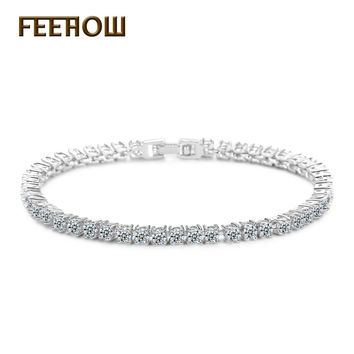 FEEROW Exquisite Cut 3mm Round Cubic Zirconia Tennis Crystal Women Bracelet & Bangles Hot Sale Imitation Diamond Jewelry FWBP032