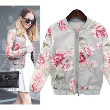 Ladies Vintage Autumn Floral Printed Coat Womens Crop Domber Biker Jacket 2Color SV006211 = 1902575108