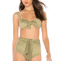 Montce Swim Bustier Bow Top in Olive Faux Suede
