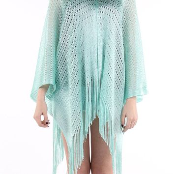 Mint Green Woven Sheer Coverup Poncho