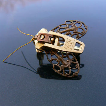 Steampunk Moth Zipper Brooch - Steampunk Moth Zipper Pin