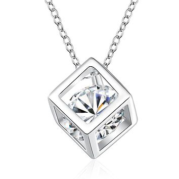 18K White Gold Plated Swarovski Elements Cube Necklace