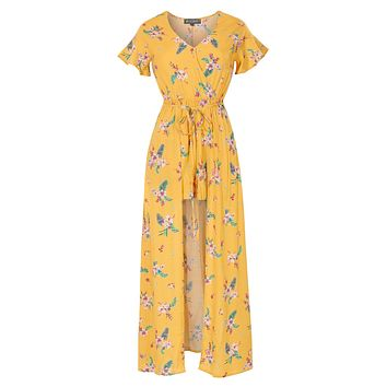 LE3NO Womens Floral Print Short Sleeve Wrapped V Neck Maxi Romper Dress