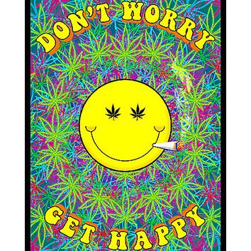 Dont Worry Get Happy Blacklight Poster - Spencer's