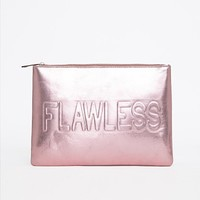 Missguided - Rainie Metallic Flawless Embossed Slogan Clutch Dusky Pink