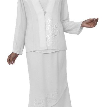 Hosanna 3980 White Plus Size 3 PC Dress Set Tea Length Jacket Top