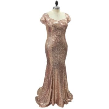 Sequin Bridesmaid Dresses Sheath Champagne Rose Gold Wedding Maid of Honor