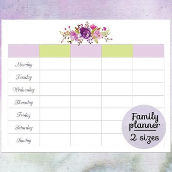 Family planner calendar, Printable blank weekly calendar, Weekly schedule, Weekly planner template, Large wall calendar, Downloadable PDF