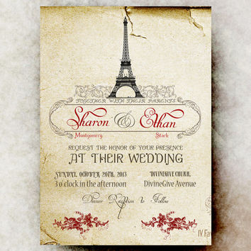 Vintage Paris Wedding Invitation - Vintage Paris Background, Red Roses Decorations, Wedding Bands - Printable Invitation DIY