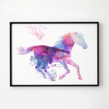 Animal print Horse watercolor Wildlife decor EM294