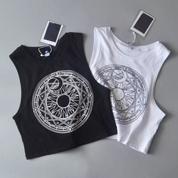 New Womens Tanks Loose Gothic Symbols Moon Sun Printing Crop Top Cropped Top Sleeveless Camis Tank Tops 4.99