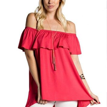 OCEANSIDE OFF THE SHOULDER TOP - CORAL