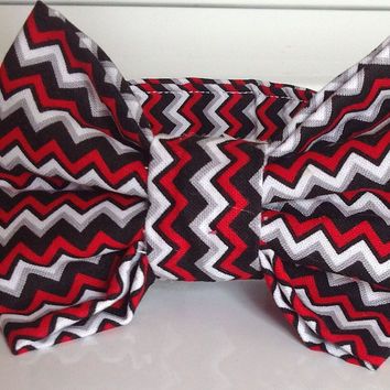 Red, Black & Gray Chevron Collar with Matching Bow Tie Set for Male Dogs or Cats