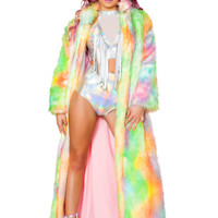 Rainbow Sherbet Long Faux Fur Coat