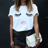 Summer Women T Shirts 2015 O-neck Short Sleeve Lip and Eyes Tee Shirt White Plus Size Tops Women Clothing = 1956863684