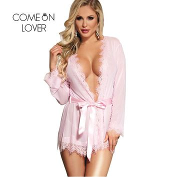 Comeonlover Women Sexy Robe Nightwear Best Sale With Belt Red Lace Women Lingerie Lace Nightdress Lingerie Babydoll RI80182