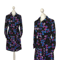 1970's Graphic Print Dress | 70's Vintage Shirt Dress | Black Dress With Purple Circles | UK 12 14