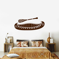 Vinyl Decal Canoe and Paddle Rustic Ethnic Style Decoration Wall Sticker Fishing and Hunting Decor (ig3221)