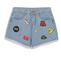 Patchwork Denim Short