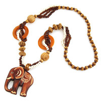 20Vintage Bohemia Elephant Retro Wood Long Statement Necklaces & Pendants Women Men Jewelry