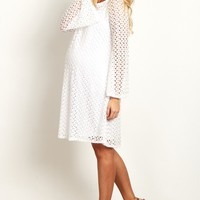 White-Open-Lace-Overlay-Bell-Sleeve-Dress