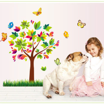 Happy tree wall stick a bedroom a sitting room TV setting wall stickers Home home act the role ofing SM6