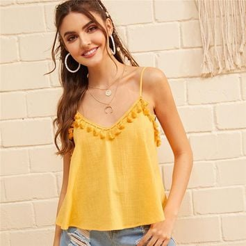 Boho Yellow Tassel Trim Cami Top Women Clothes Solid Sexy Adjustable Spaghetti Strap Sleeveless Top