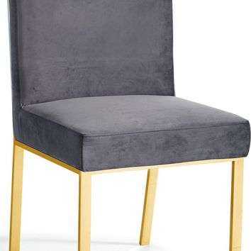 Opal Grey Velvet Dining Chair Gold (set of 2)