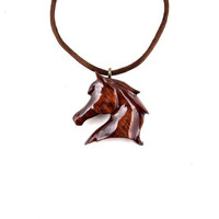 Horse Necklace, Horse Pendant, Wood Horse Necklace, Wooden Horse Pendant, Horse Jewelry, Wood Necklace, Cowgirl Horse Pendant, Wood Jewelry