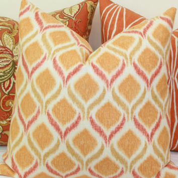 "Orange yellow ikat decorative throw pillow cover. 18"" x 18"". 20"" x 20"".22"" x 22"". 24"" x 24"".26"" x 26"". lumbar sizes"