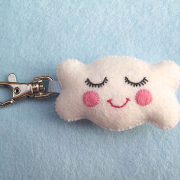 Cute Cloud Keyring - Happy Cloud Felt Plush Bag Charm Key Chain - Featured in Frankie