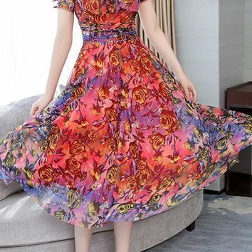 A| Chicloth Square neck Red Midi Dress A-line Daytime Printed Floral Dress