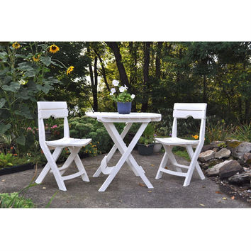 3-Piece Folding Outdoor Patio Furniture Bistro Set in White