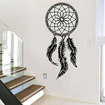 Wall Decal Dreamcatcher Dream Catcher Feathers Night Symbol Indian Vinyl Sticker Decals Home Decor Bedroom Art Design Interior NS752