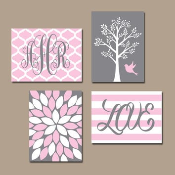 PINK GRAY Nursery Wall Art CANVAS or Prints Monogram Name Love Tree Bird Flower Girl Bedroom Wall Art Baby Girl Nursery Set of 4 Crib Decor
