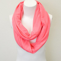 Coral Jersey Knit Infinity Scarf Simple Chic Everyday Wear Double Loop Scarf Absolute Must for Fall